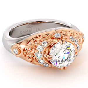 Queenly 2 Tone Gold Engagement Ring Modern Filigree Ring 1.55 Ct. Round Moissanite Ring Diamonds Engagement Ring