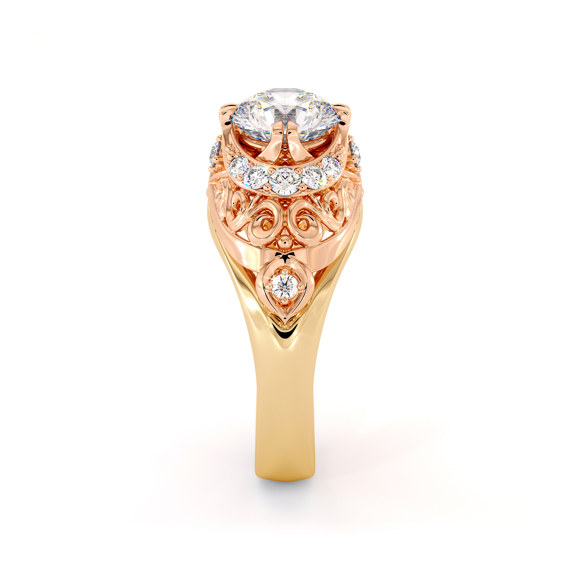 Modern Filigree 2 Tone Gold Engagement Ring Queenly Style Diamonds Ring 1.55 Ct. Round Moissanite Ring