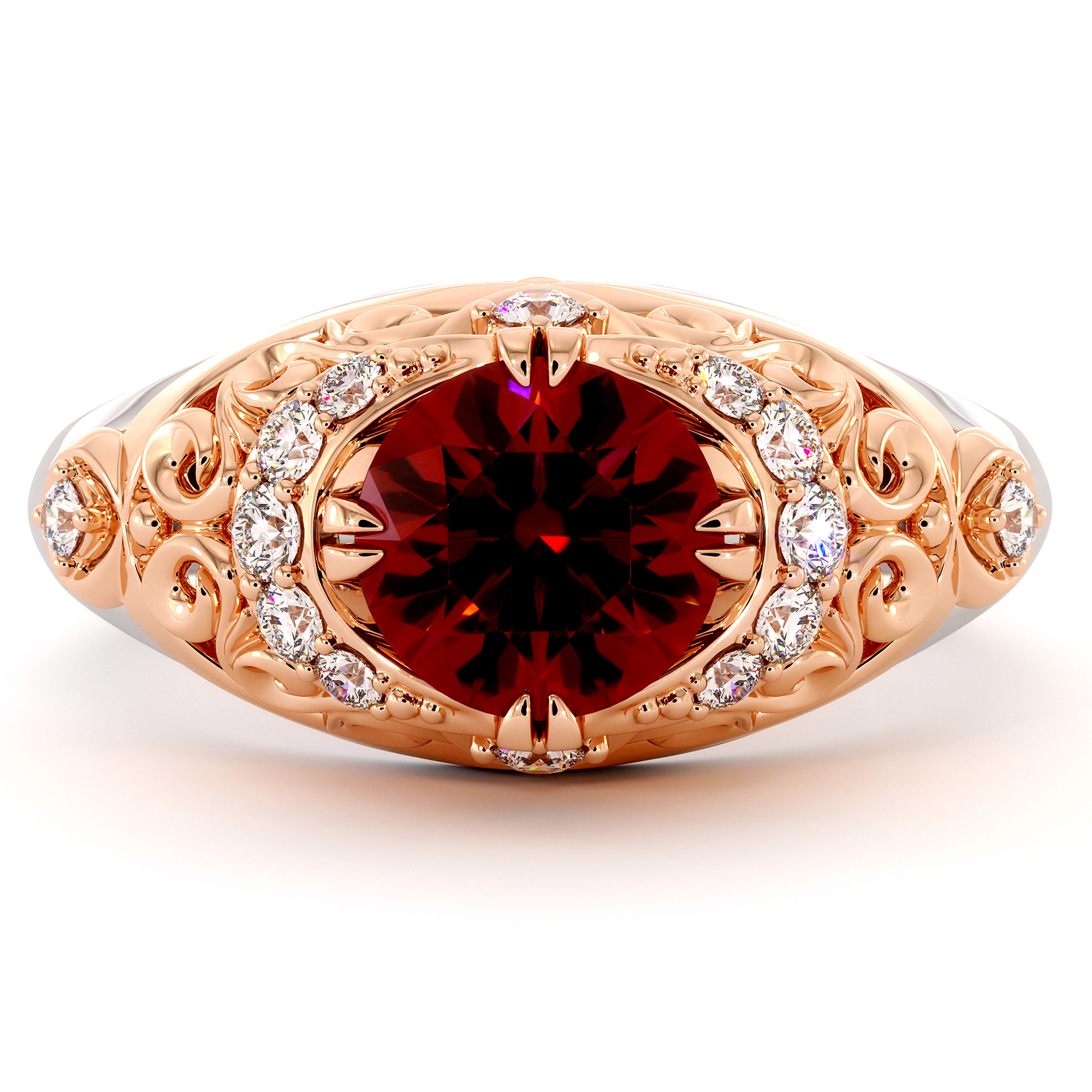 Halo Diamonds Ruby Engagement Ring Modern 2 Toned Gold Filigree Ring Queenly Gemstone Engagement Ring