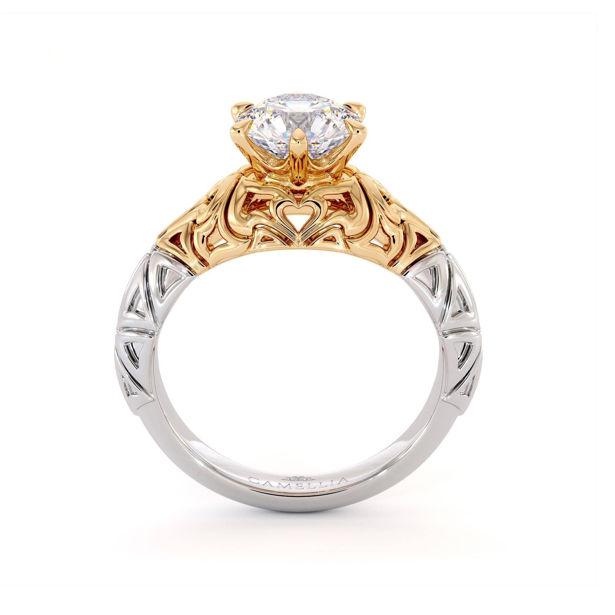 Modern Gold Filigree Engagement Ring Splendid 1.55 Carat Moissanite Engagement Ring