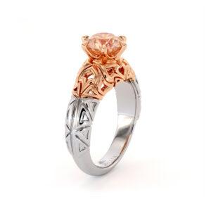Splendid 1.5 Carat Morganite Engagement Ring Unique Modern 2 Toned Gold Engagement Ring