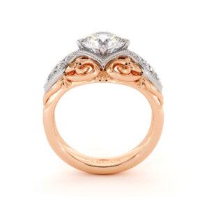 Halo Milgrain 2 Tone Gold Engagement Ring 1.55 Ct. Round Moissanite Ring Regal Diamonds Engagement Ring