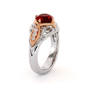 Regal Milgrain Ruby Engagement Ring 2 Toned Gold Filigree Ring Queenly Gemstone Diamonds Engagement Ring