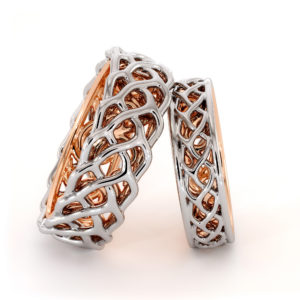 His and Hers Matching Art Deco Bands 14K Two Tone Love Wedding Bands