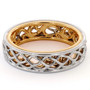 14K Gold Braided Women's Band 5.5mm Wide Unique Filigree Band