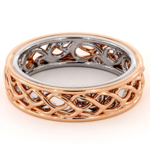 Twisted Band 14K Rose & White Gold Ring Unique Women's Wedding Band