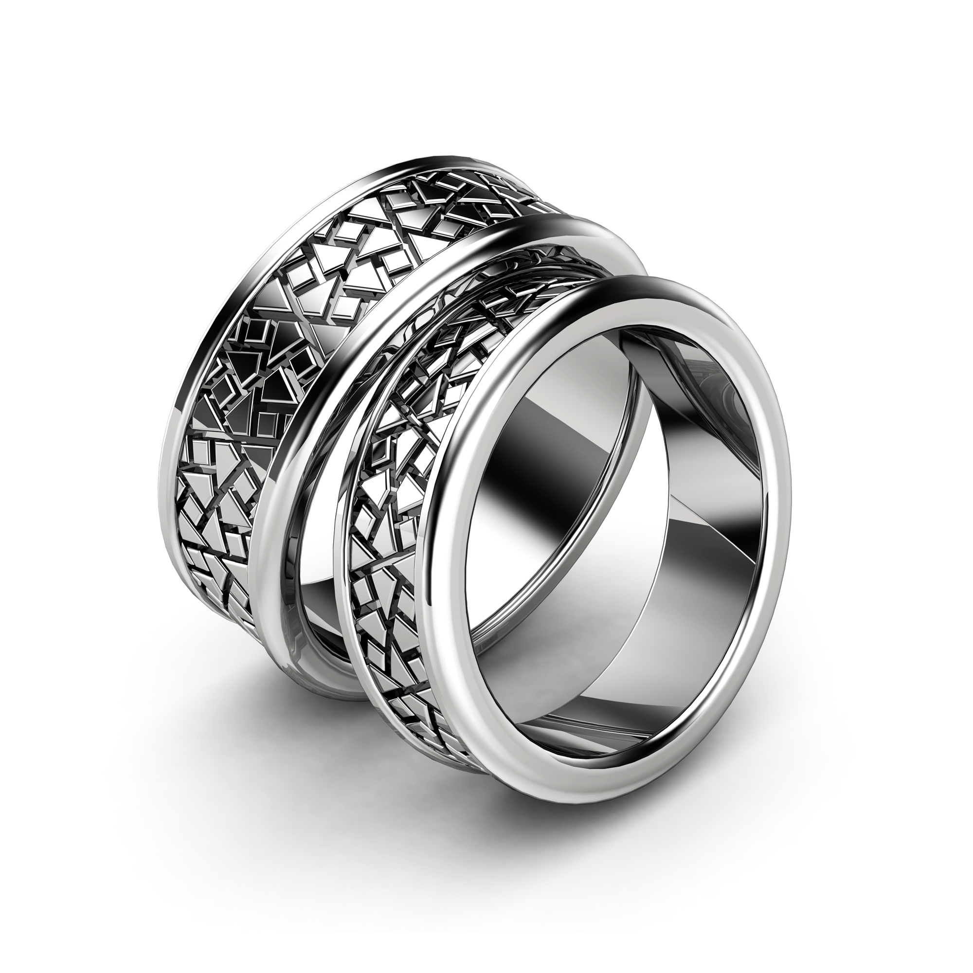 Matching Wedding Band Sets Unique Pattern Couples Rings in 14K White Gold