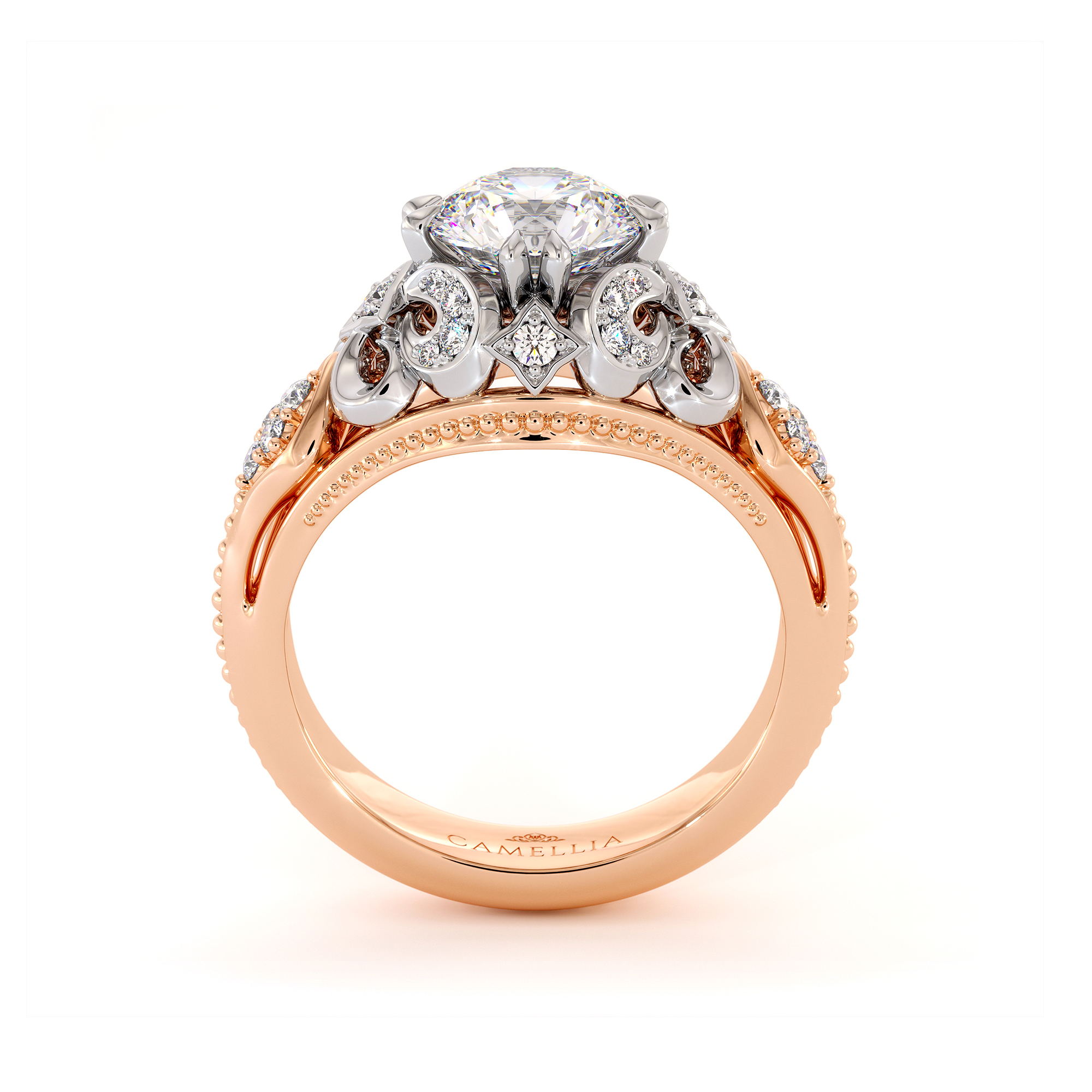 Moissanite Two Tone Gold Engagement Ring Unique Infinity Diamond Ring