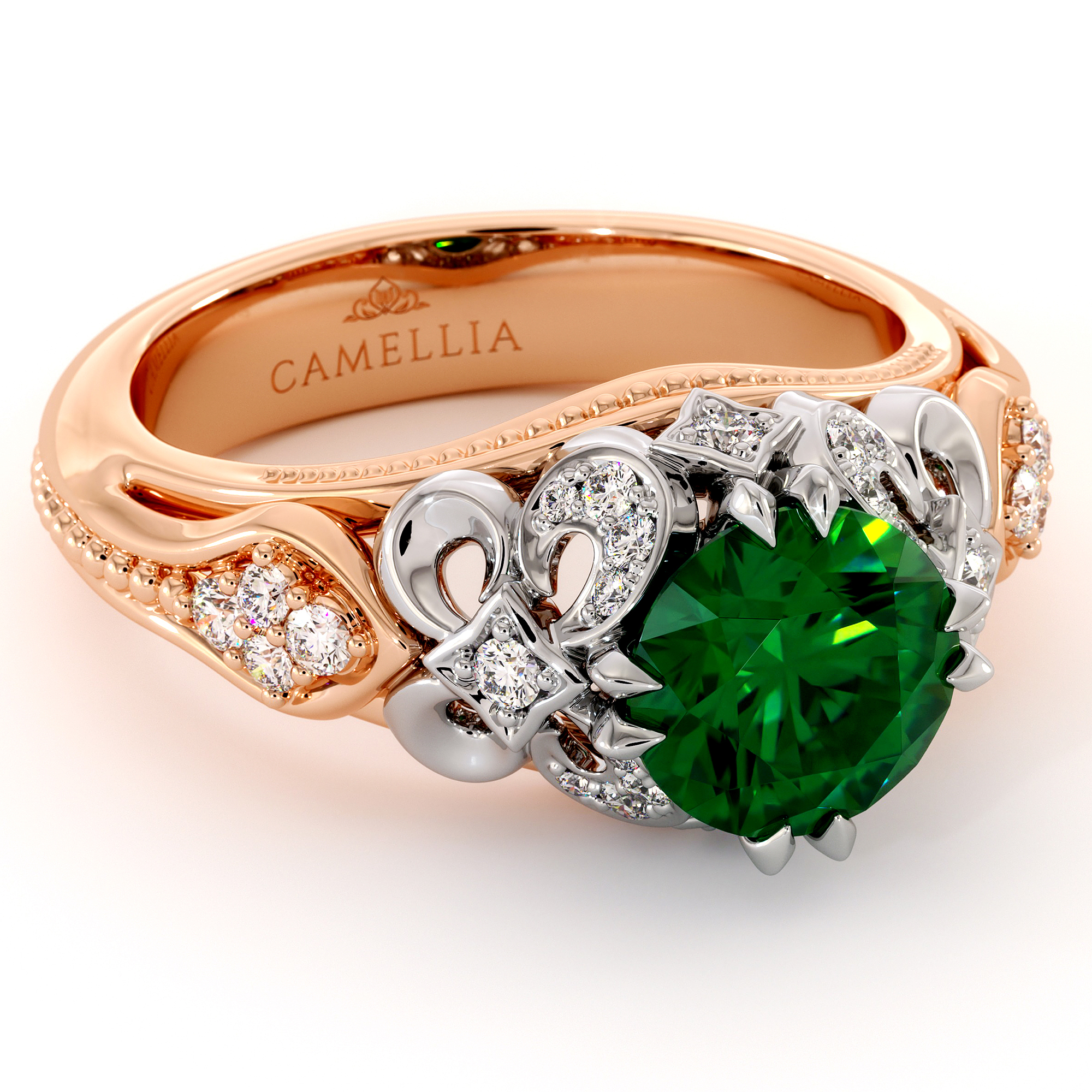 Emerald Two Tone Gold Engagement Ring May Birthstone Emerald Filigree Ring