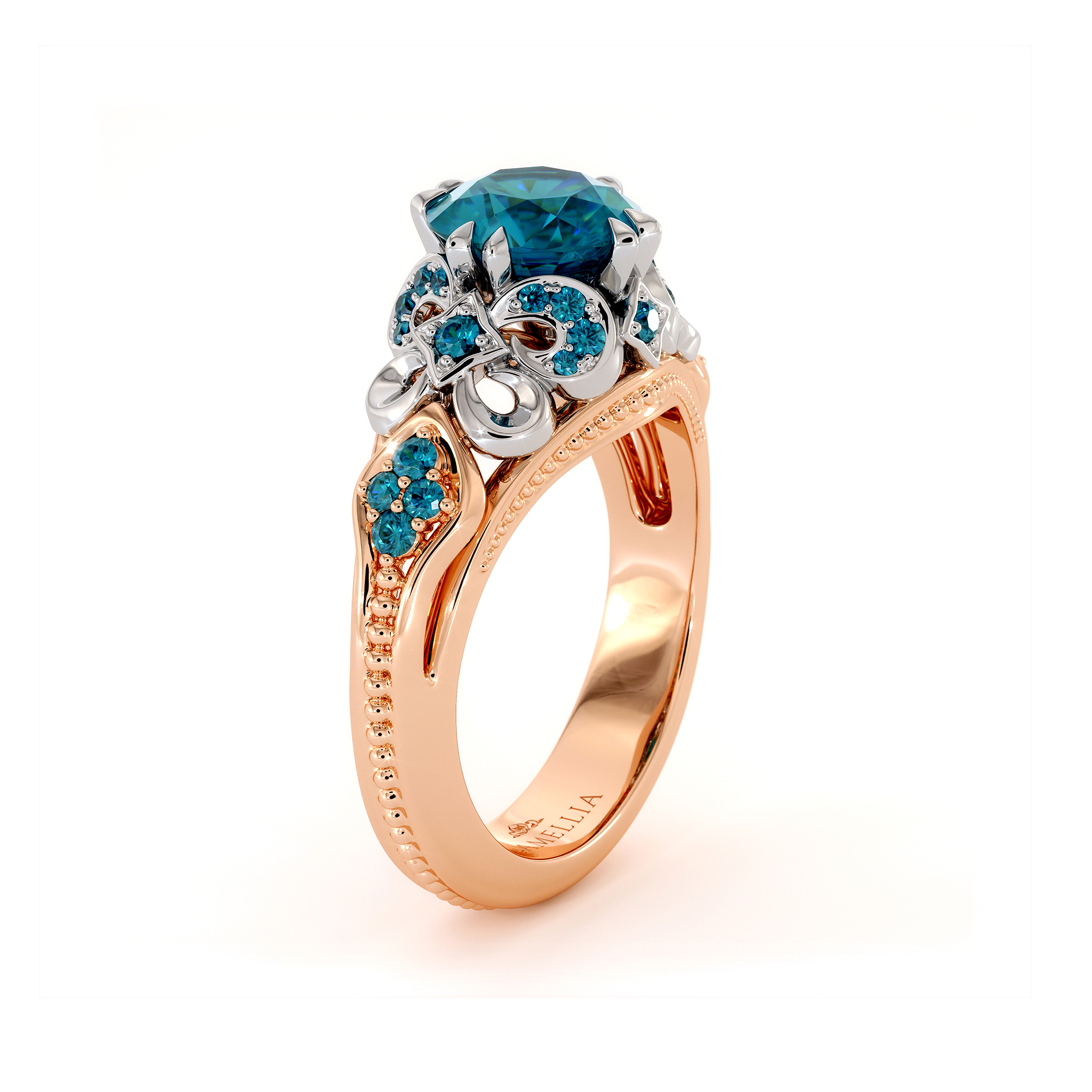 Blue Diamond Two Tone Gold Engagement Ring Unique Infinity Diamond Ring