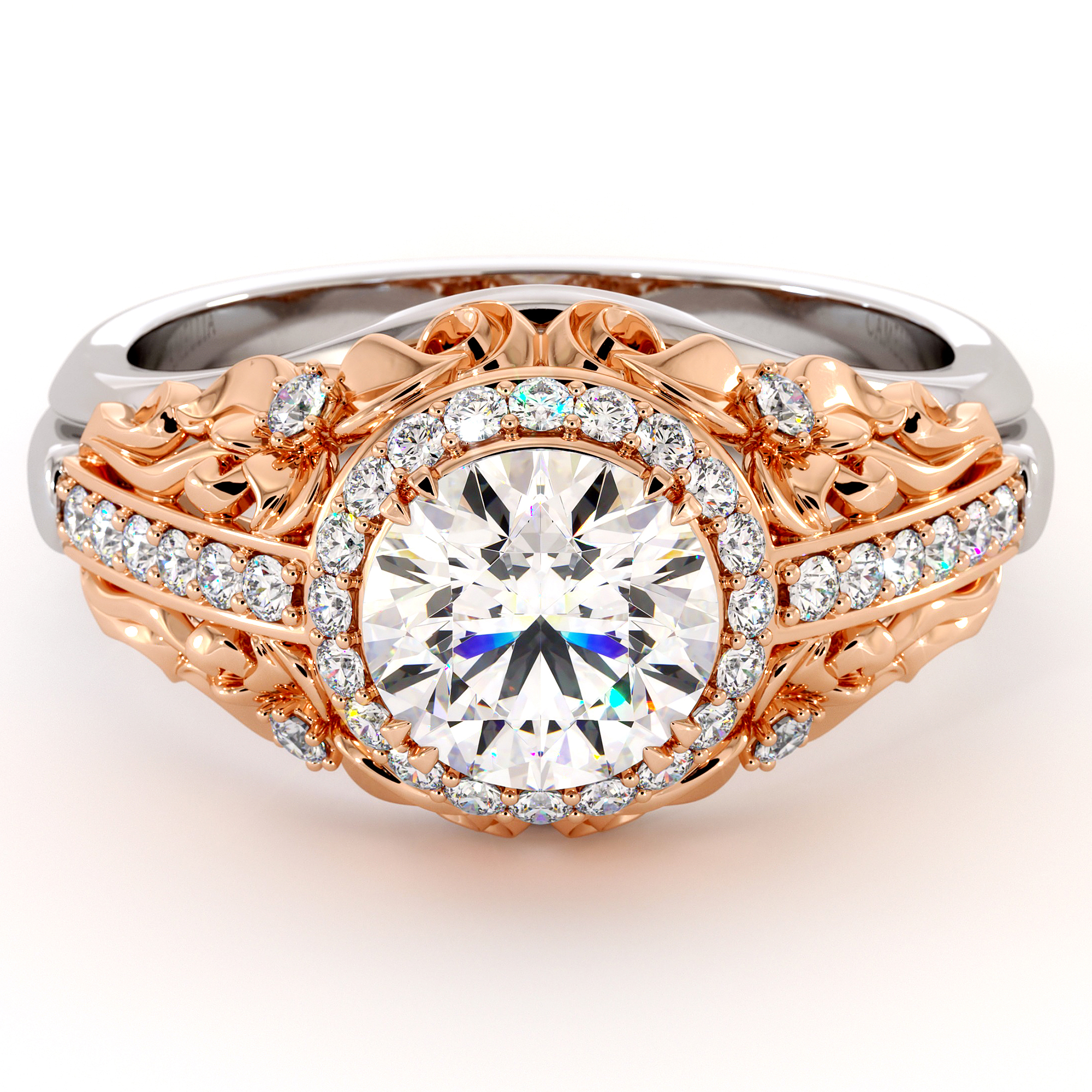 Moissanite Two Tone Gold Engagement Ring Unique Diamond Halo Ring