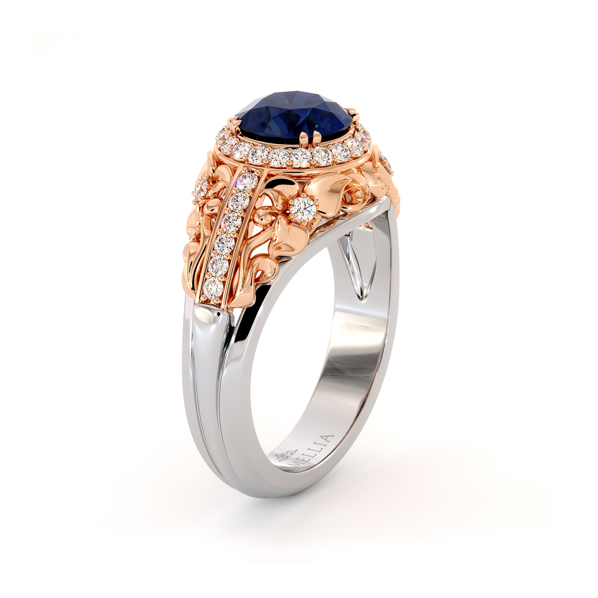 Regal Blue Sapphire Engagement Ring Vintage Two Tone Gold Engagement Ring