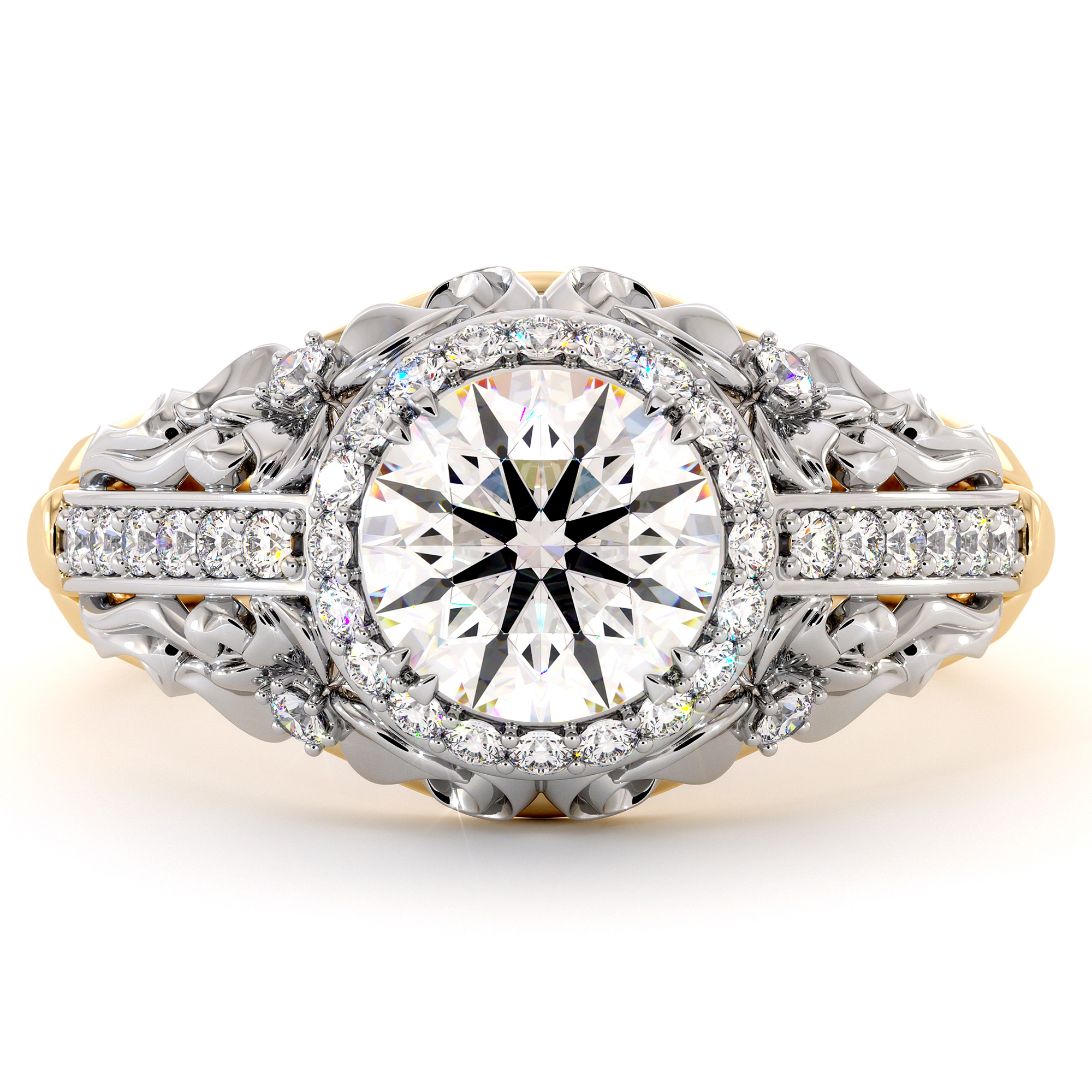 Two Tone Engagement Halo Ring with Moissanite Forever One Regal Ring