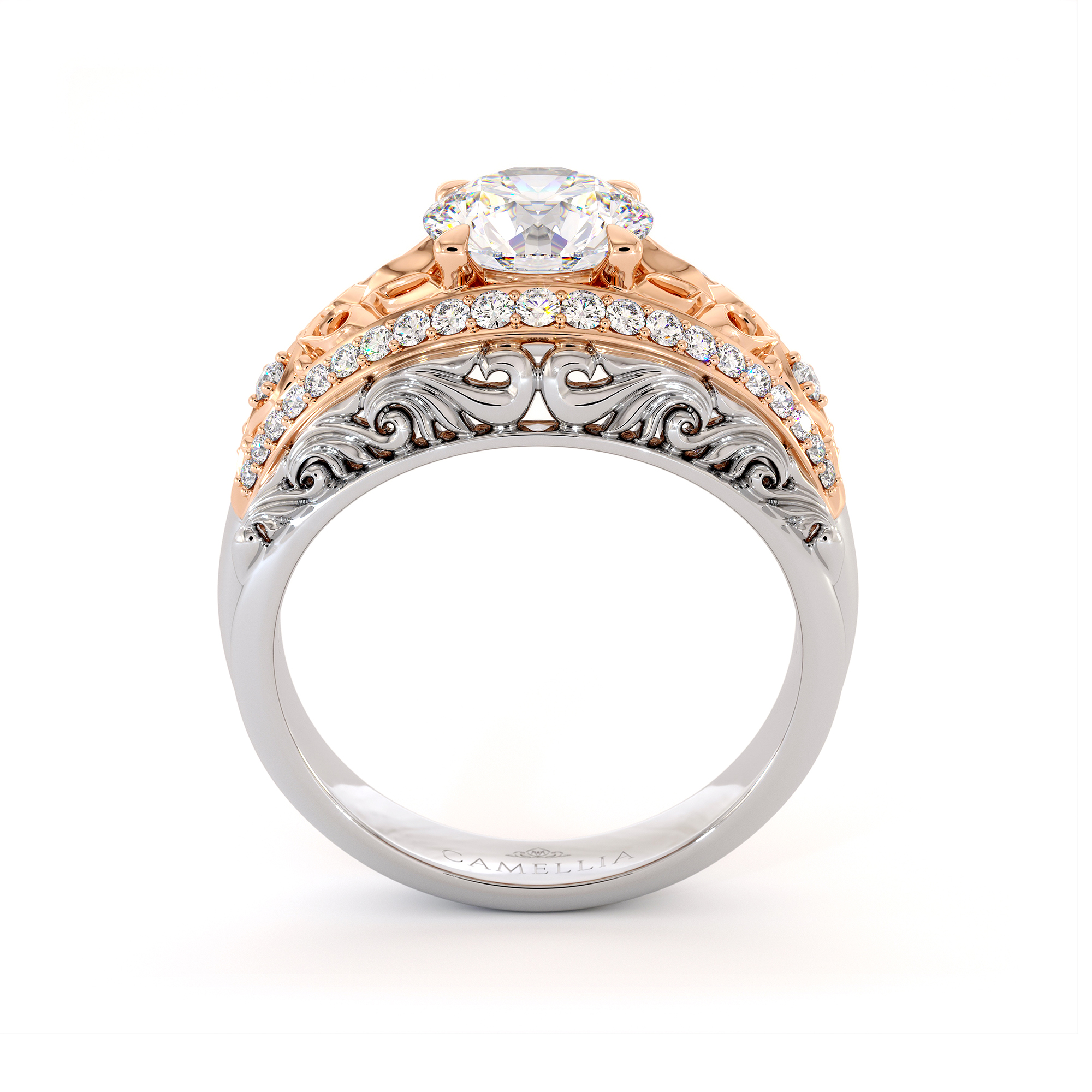 Two Tone Engagement Ring with Side Natural Diamonds Moissanite Forever One Regal Ring