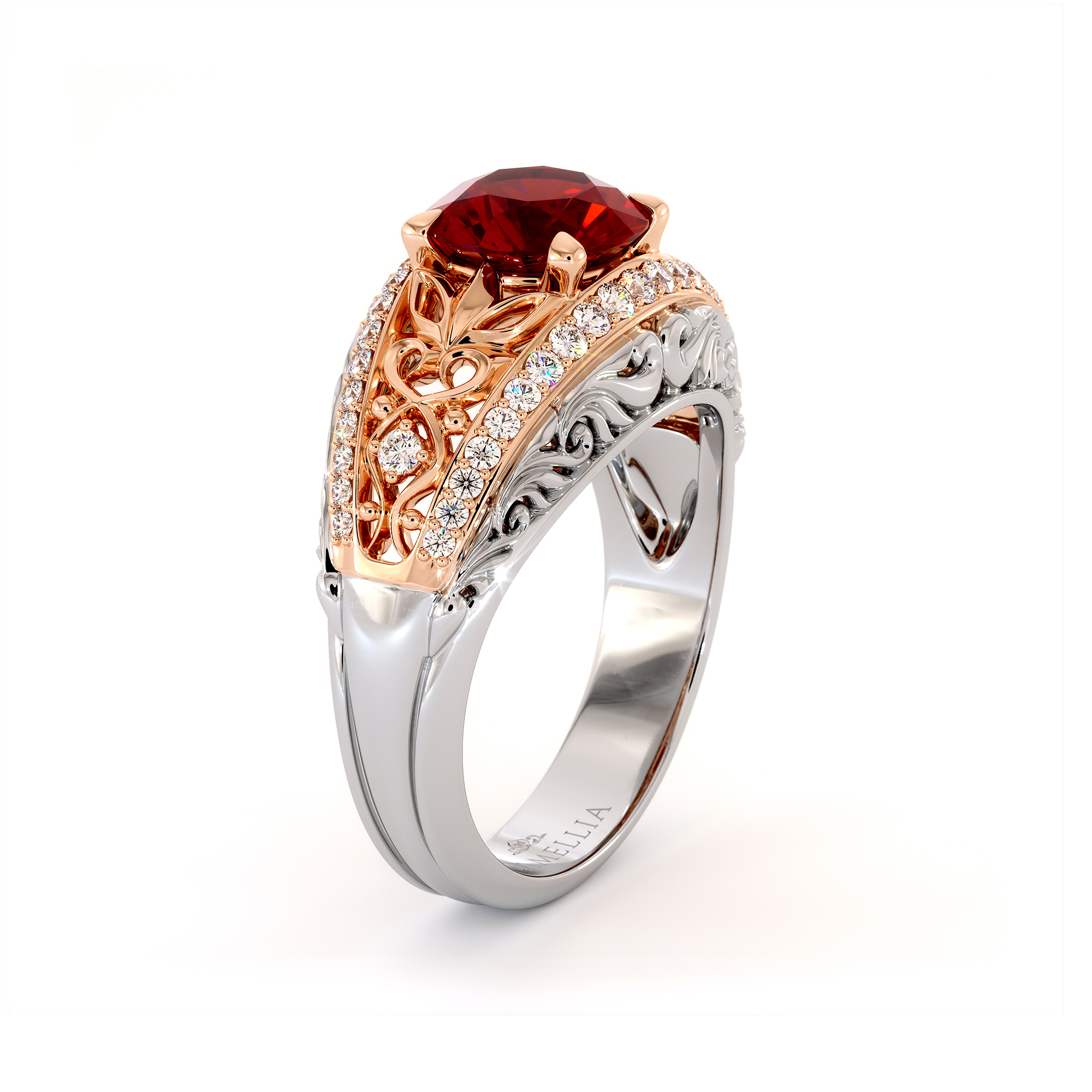 1.5 Carat Natural Ruby Unique Ring Vintage Filigree Solid Gold Engagement Ring