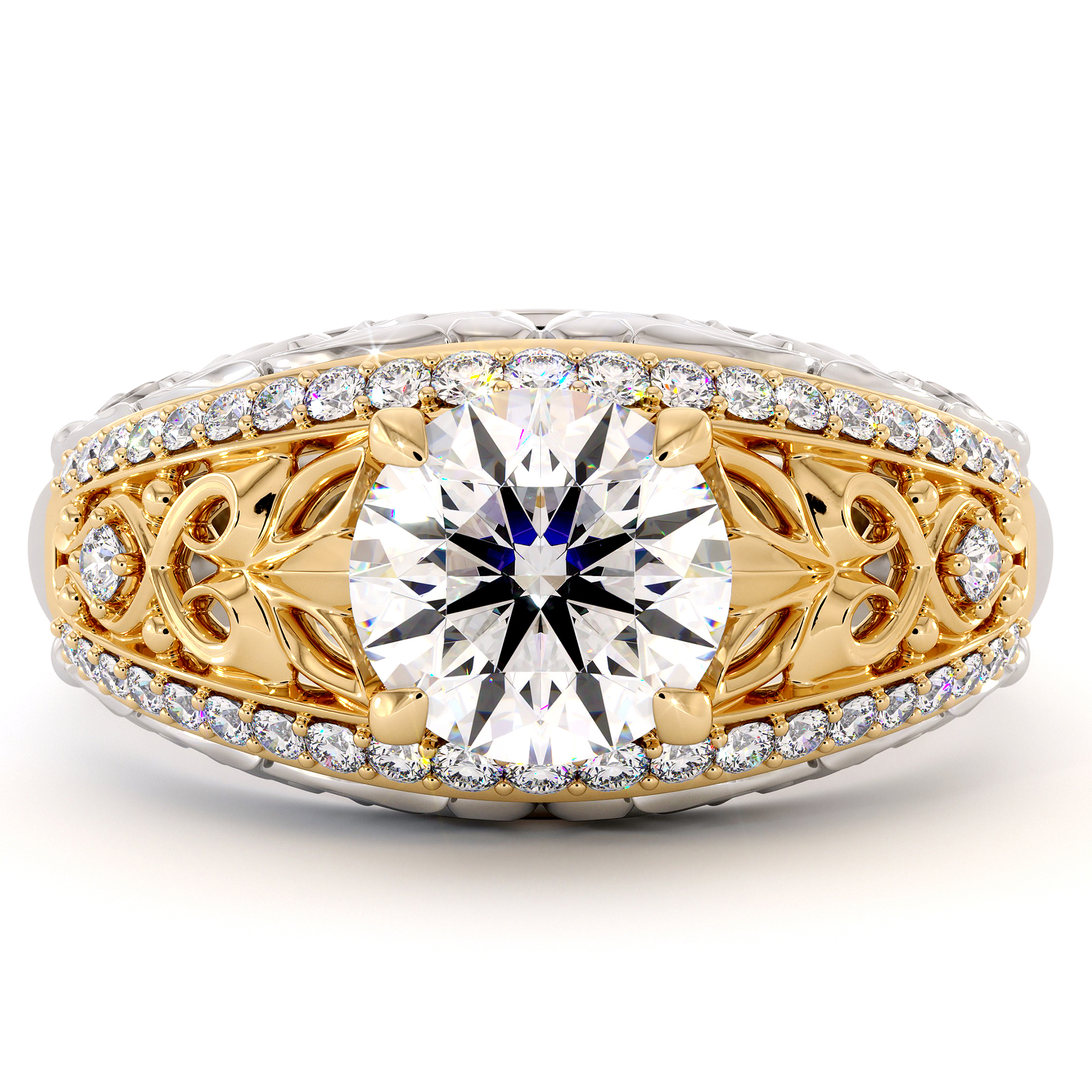 Yellow & White Gold Engagement Ring with Side Natural Diamonds Moissanite Forever One Regal Ring