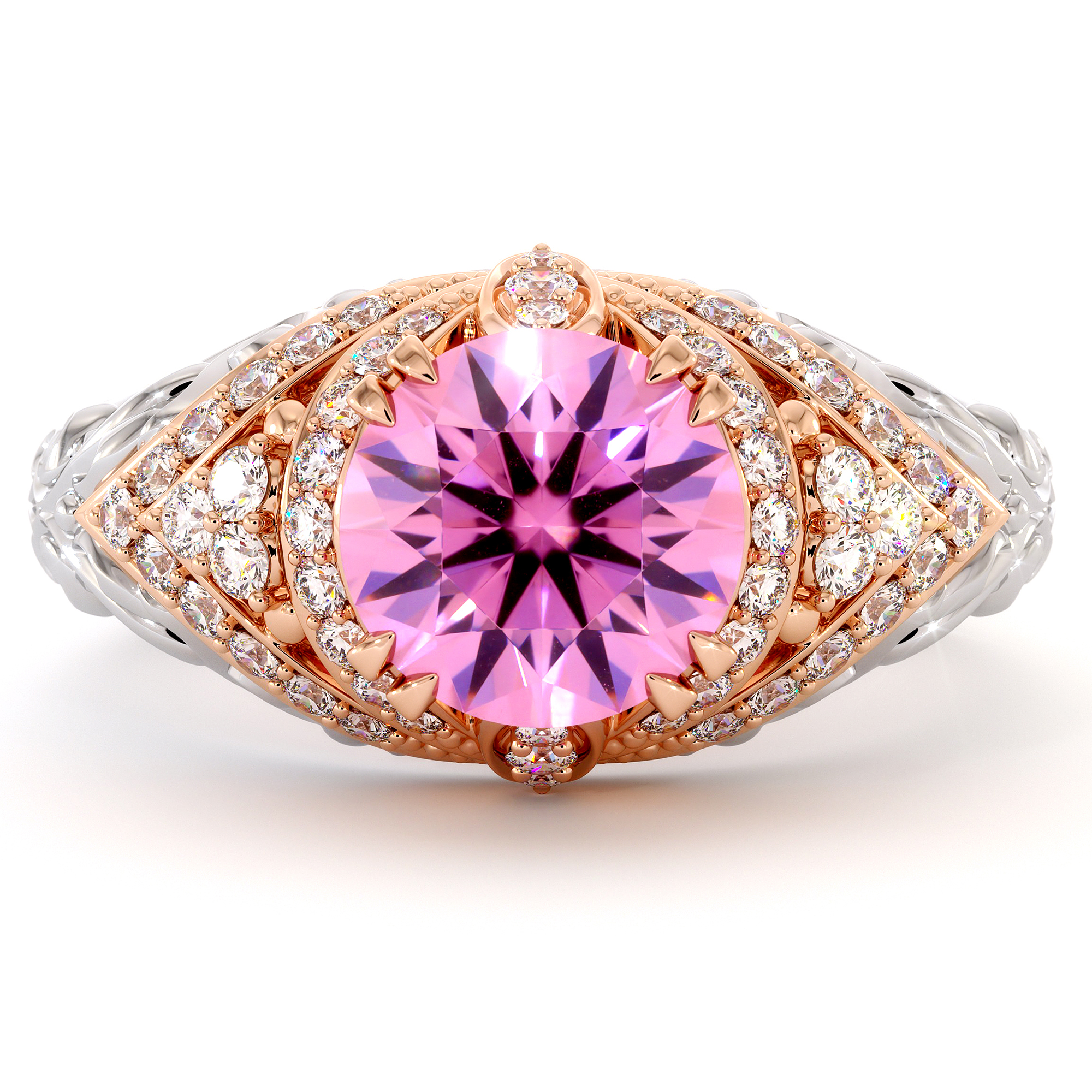Two Tone 2 Ct Pink Sapphire Engagement Ring Filigree Regal  Solid Gold Ring