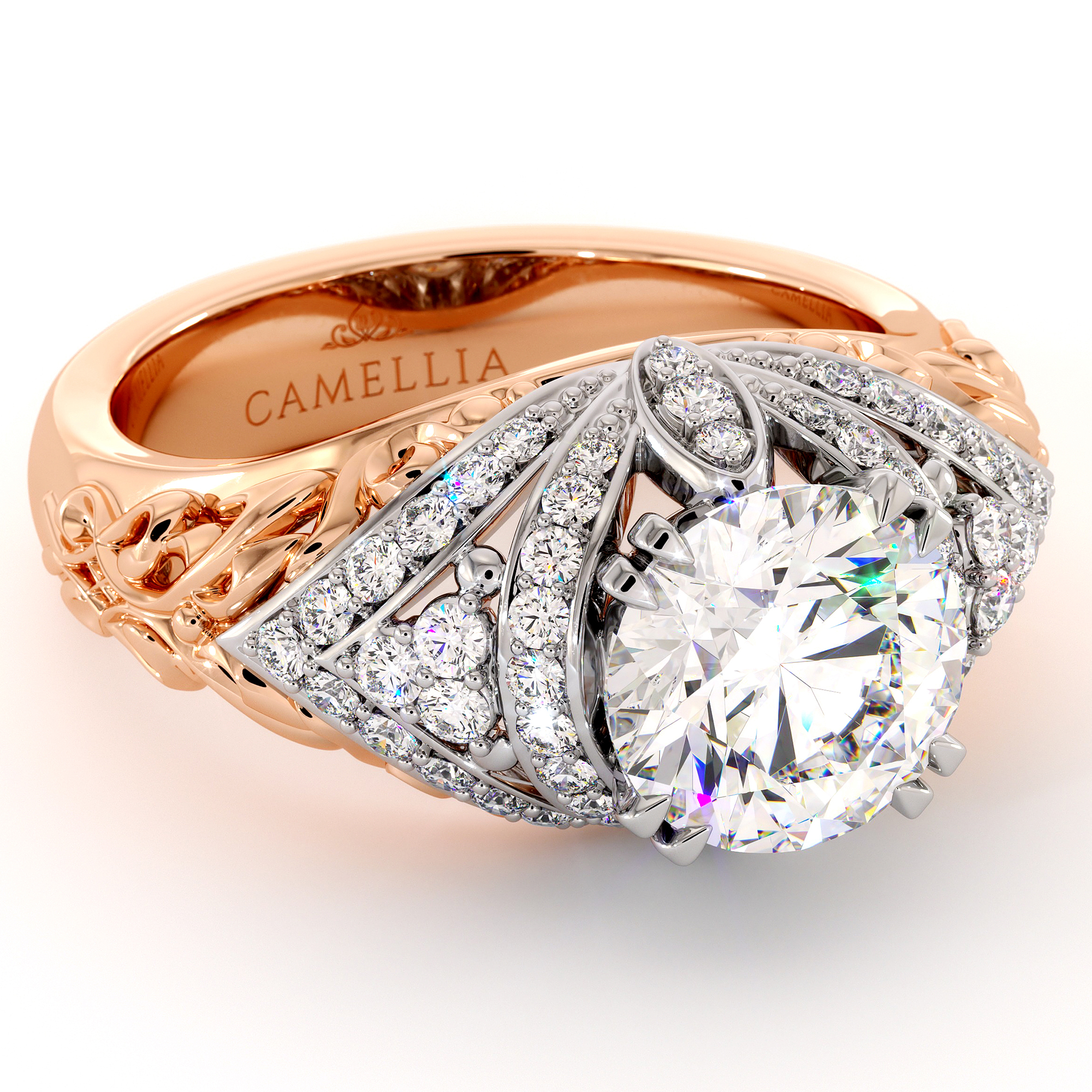 Unique Two Tone Engagement Ring with 2 ct. Moissanite Regal Ring