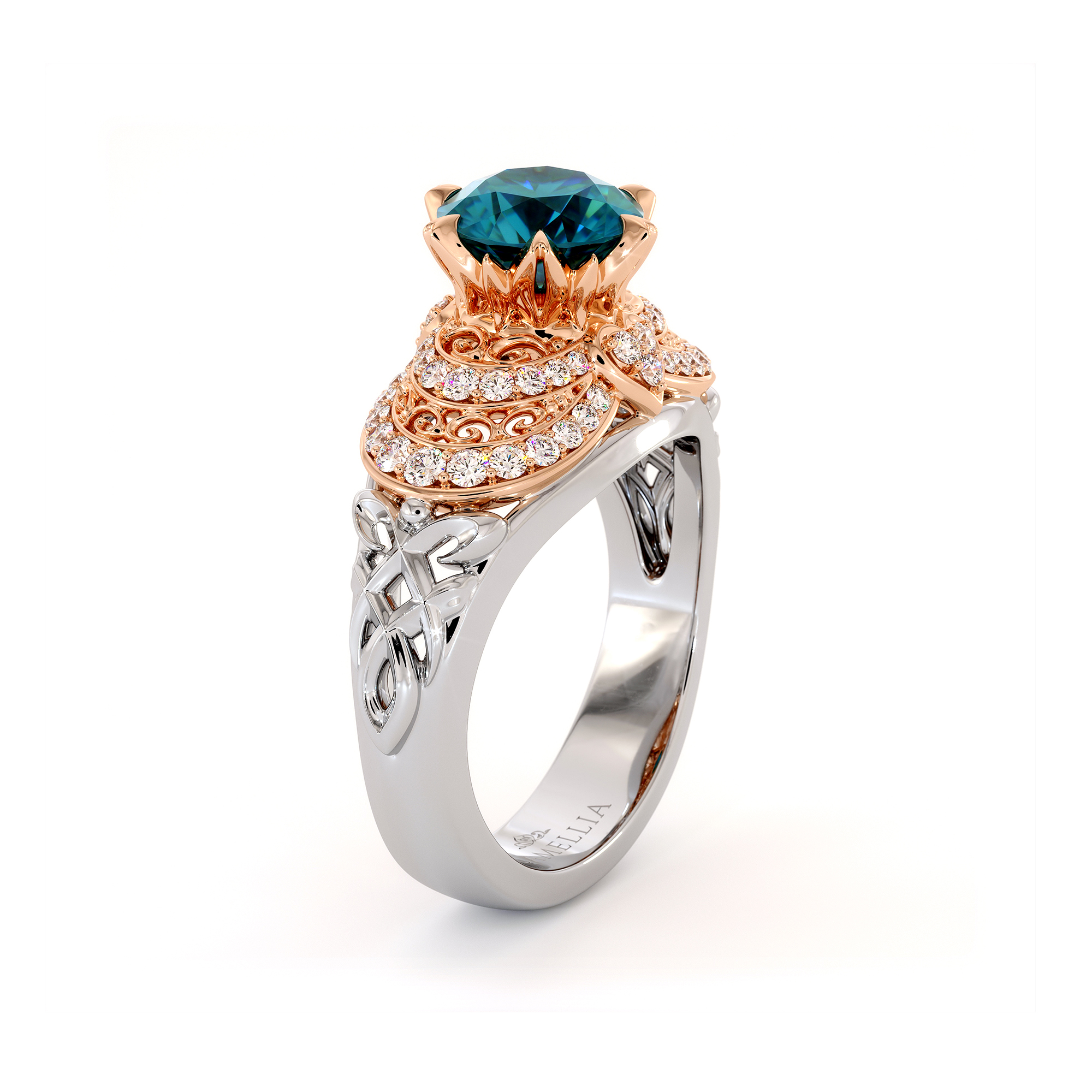 Regally Designed Blue Diamond Engagement Ring Vintage Two Tone Gold Ring
