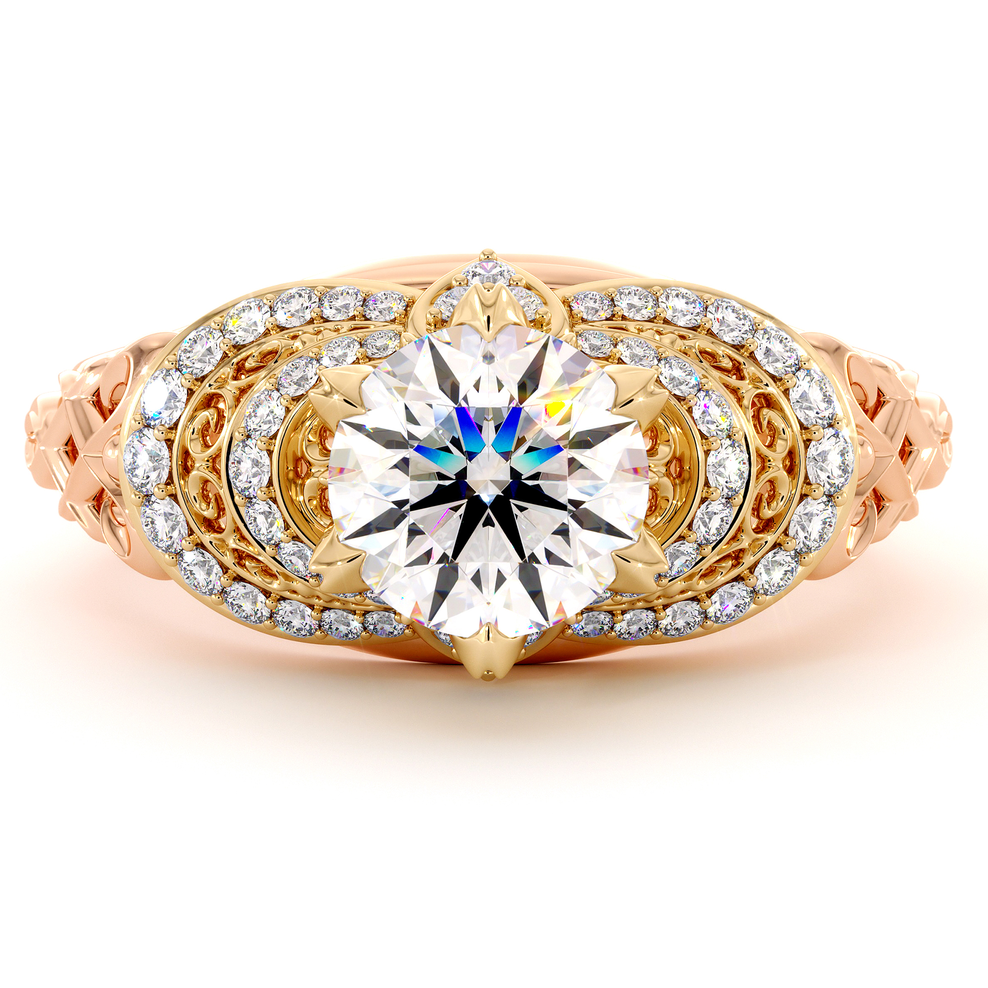 Two Tone Gold Heart Ring 1.55 Ct. Round Moissanite Ring Regal Diamonds Engagement Ring