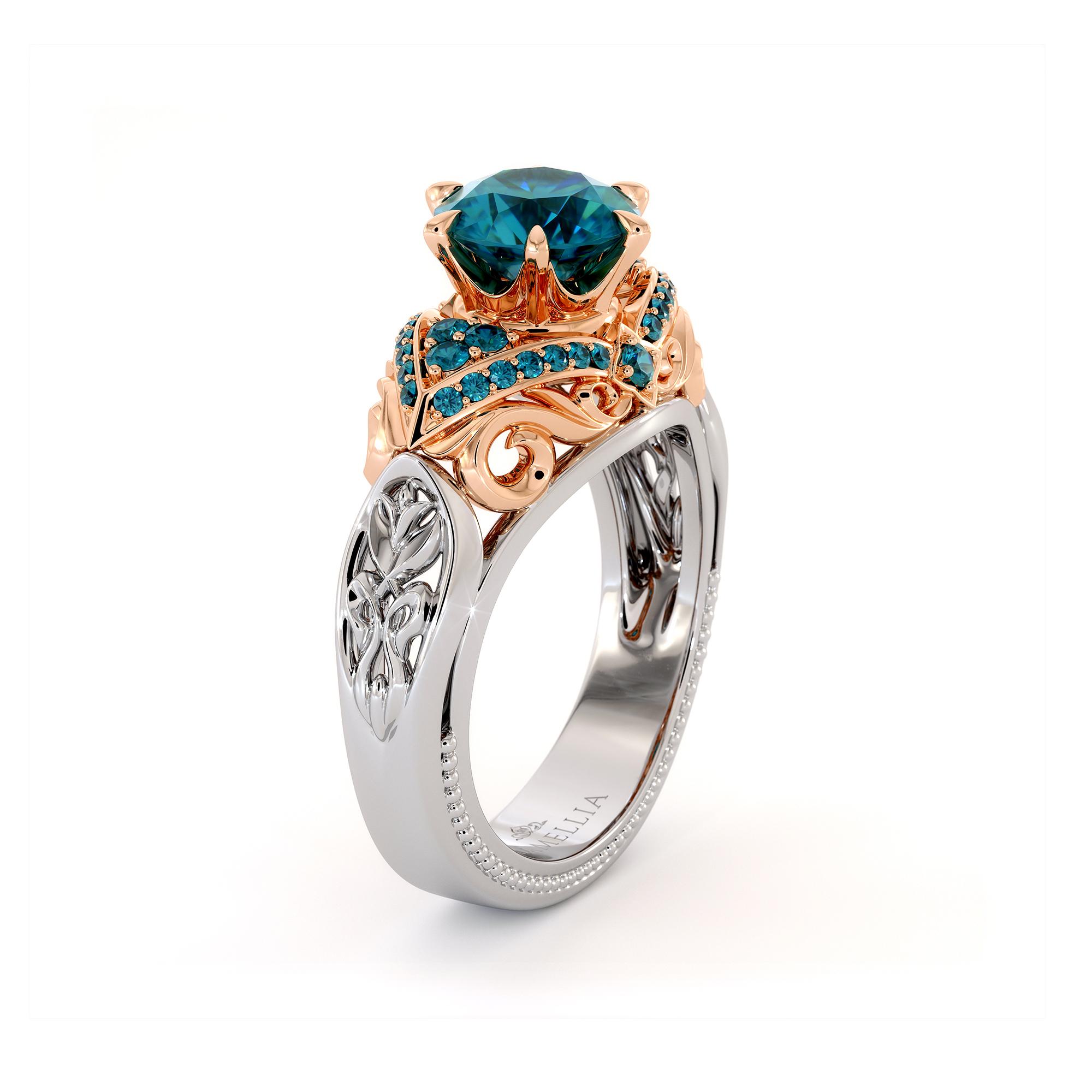 Vintage Blue Diamond Two Tone Gold Regal Engagement Ring