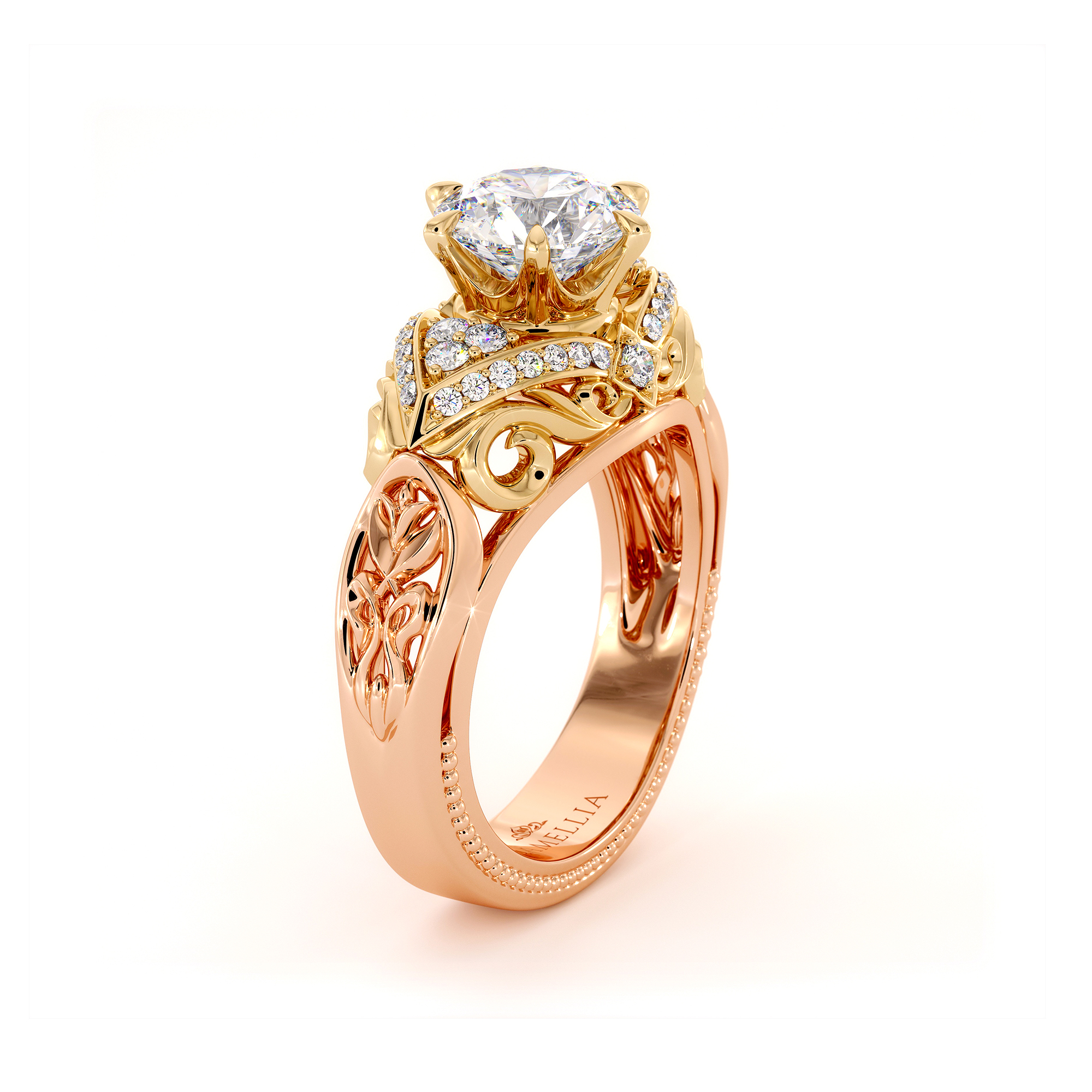 Spectacular 1.55 Carat Moissanite Engagement Ring Two Tone Gold Engagement Ring