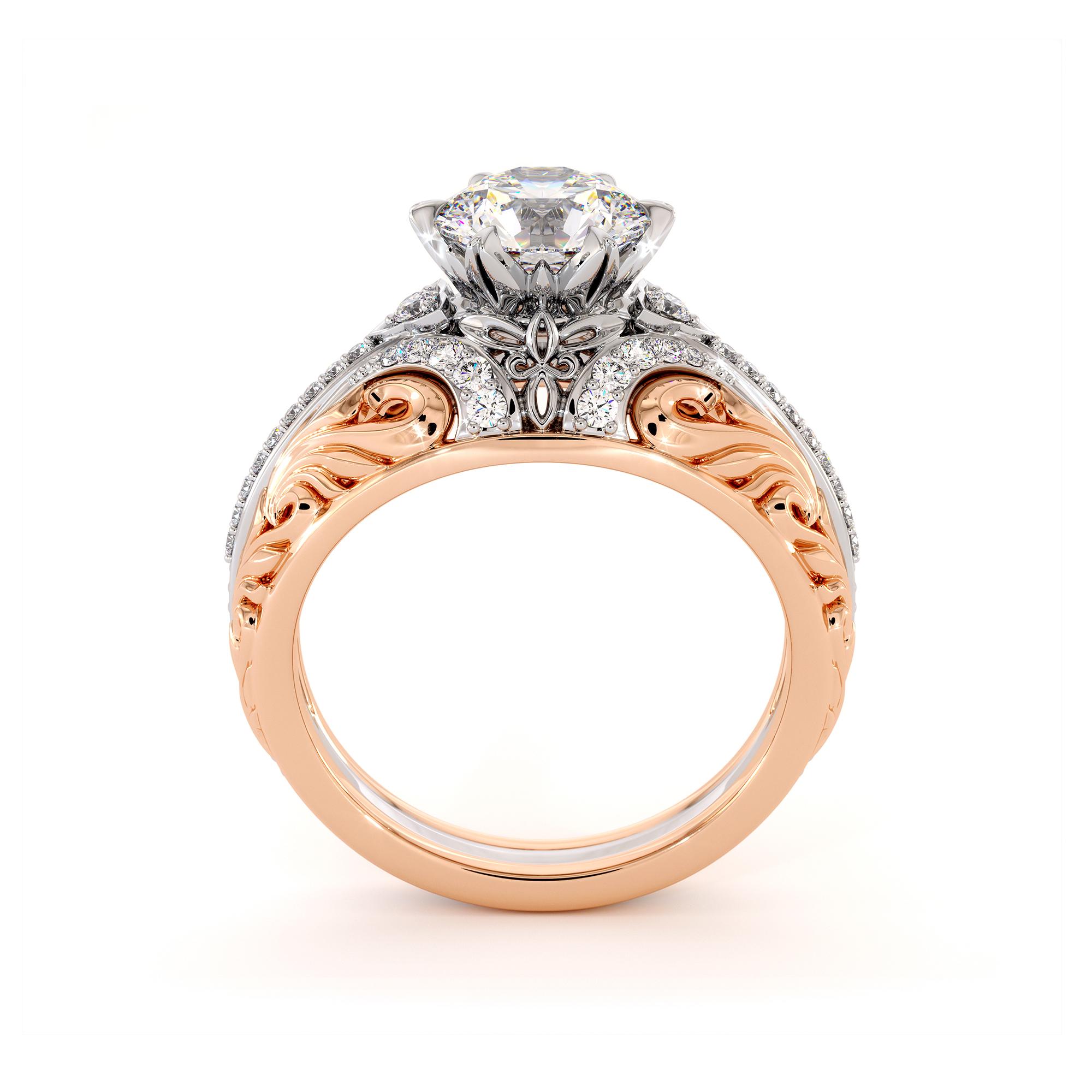Breathtaking Moissanite Two Tone Gold Engagement Regal Ring
