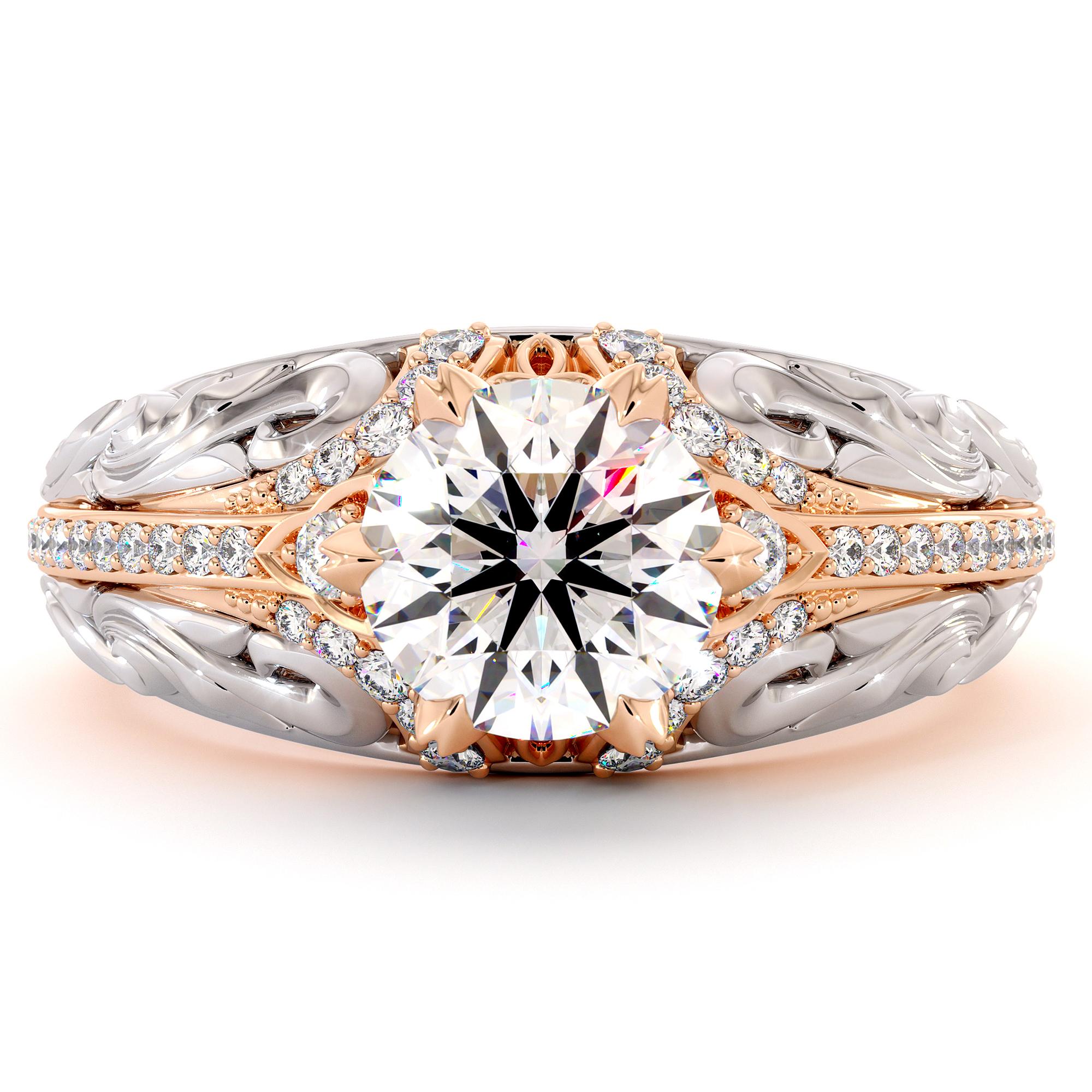 Stunning Moissanite Two Tone Gold Engagement Regal Ring