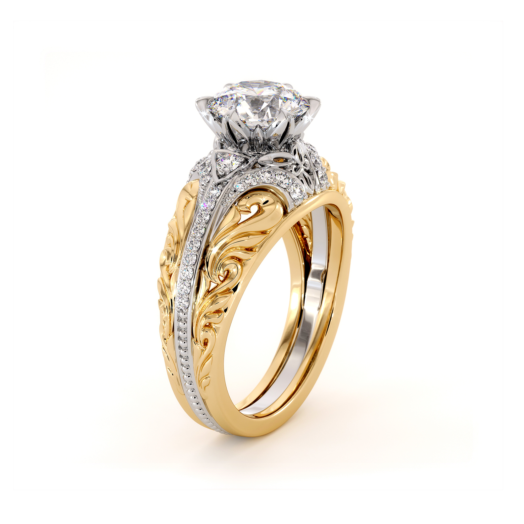 Handmade Moissanite Two Tone Gold Engagement Regal Ring