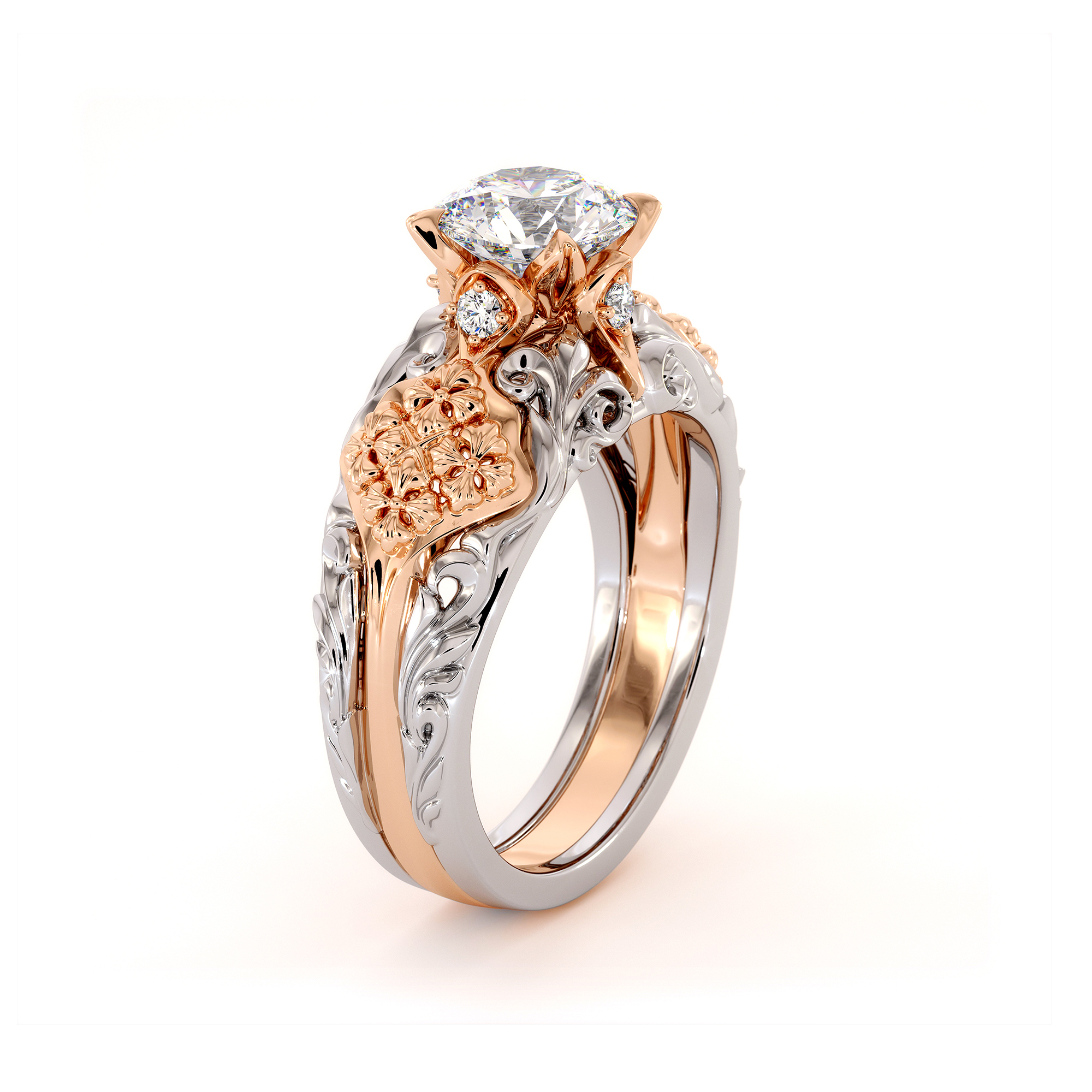 Vintage Round Moissanite Engagement Ring Two Tone Gold Engagement Ring