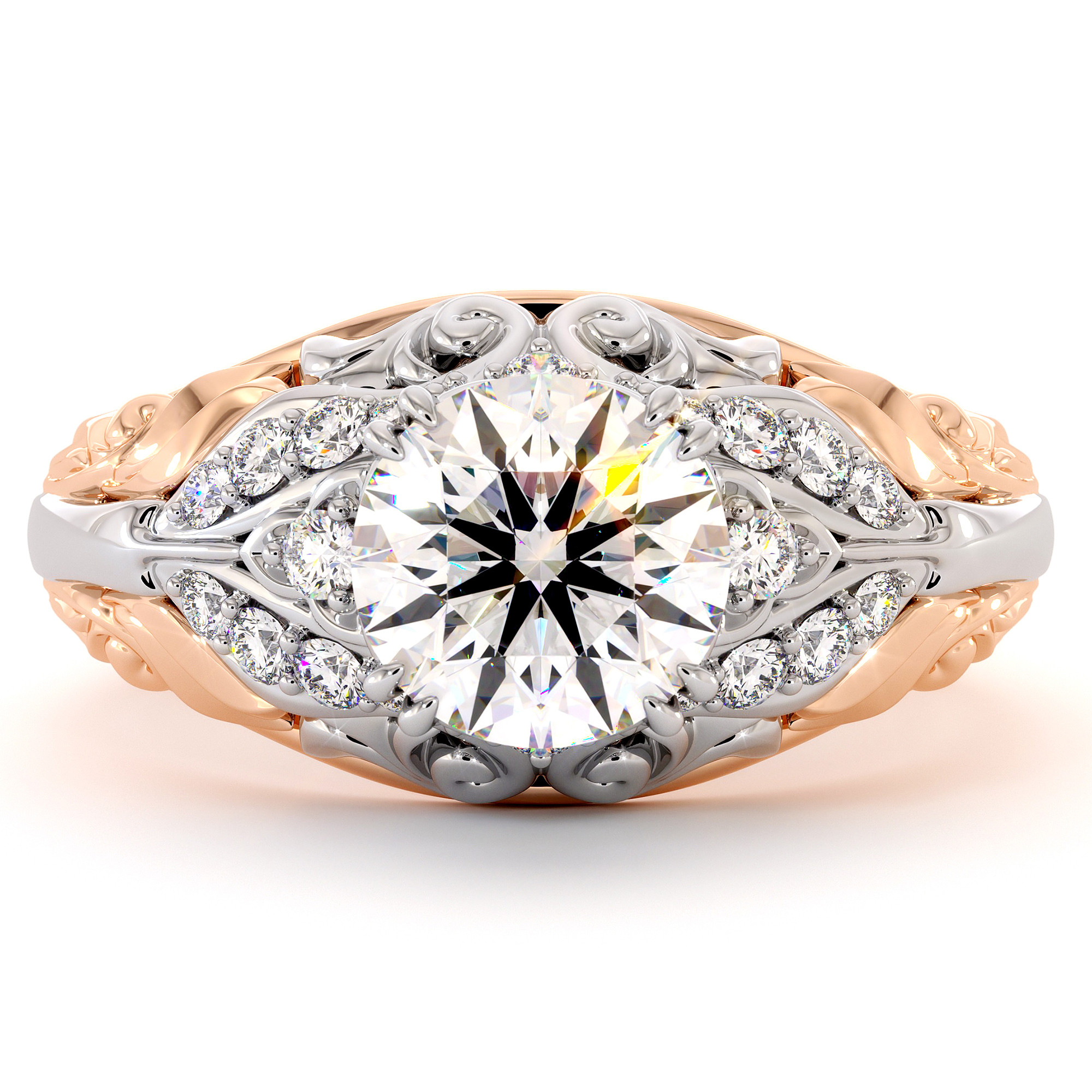 Unique Regal Filigree Wedding ring Two Tone Gold Moissanite Forever One Proposal Ring