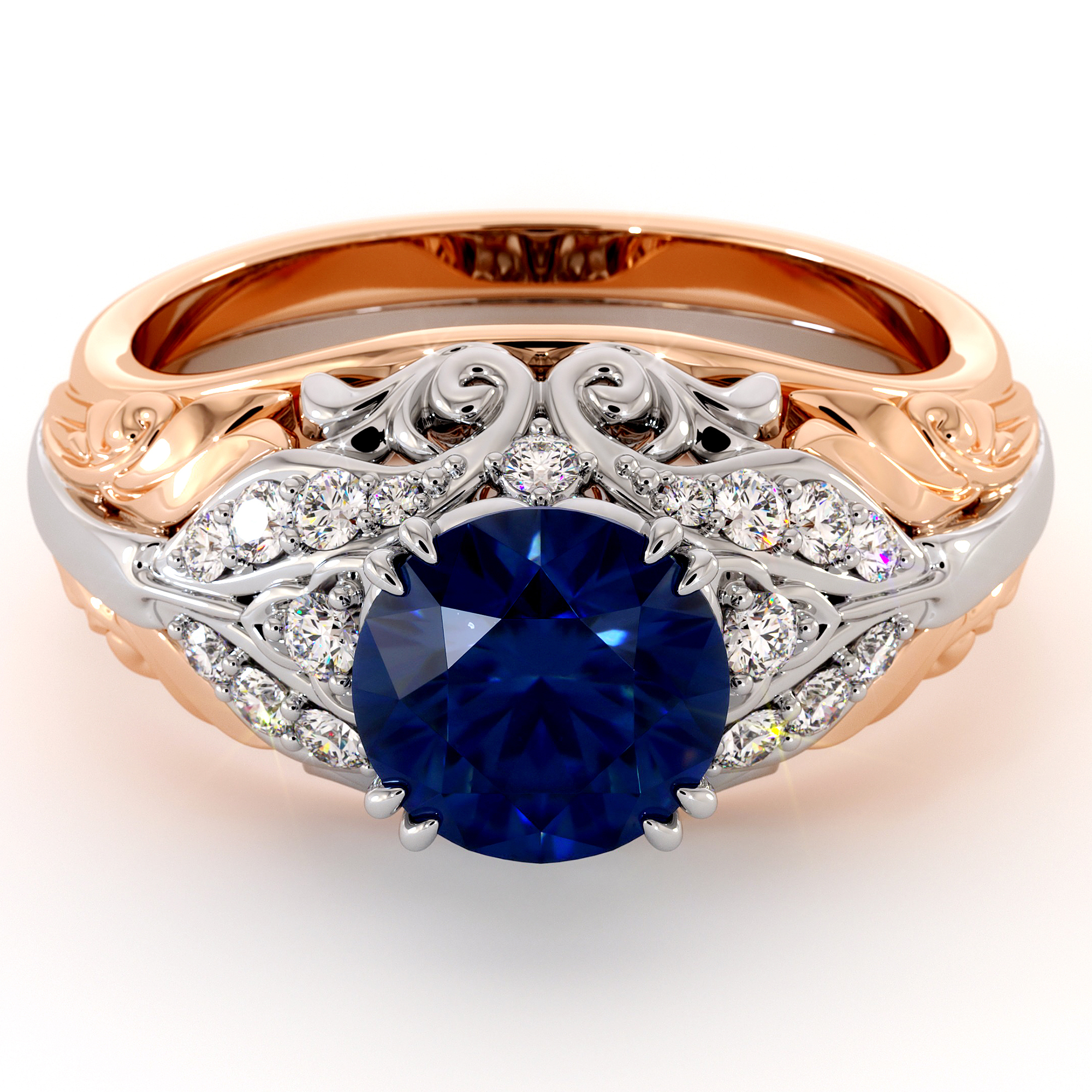 Unique Sapphire Filigree Engagement Ring Two Tone Gold Ring For Women's