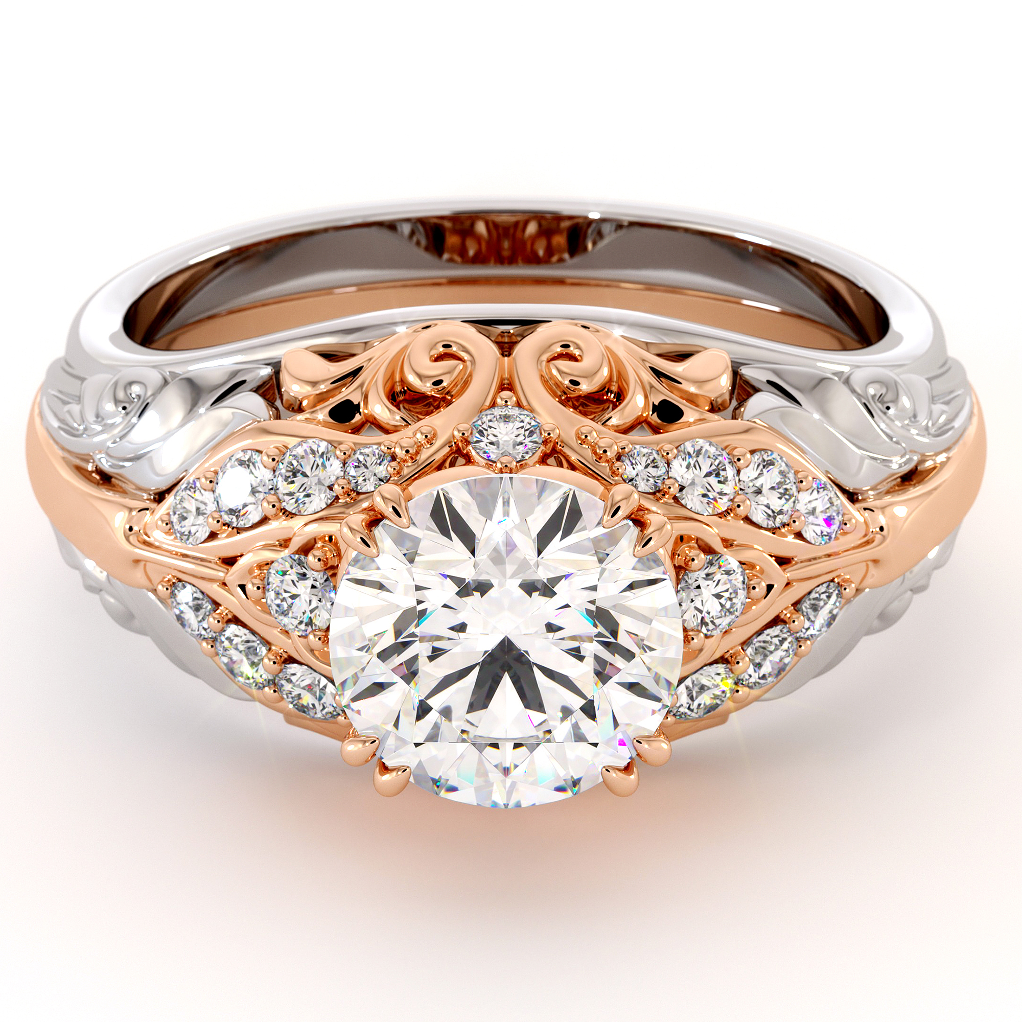 Unique Regal Filigree Engagement Ring Two Tone Gold D-F Moissanite Proposal Ring