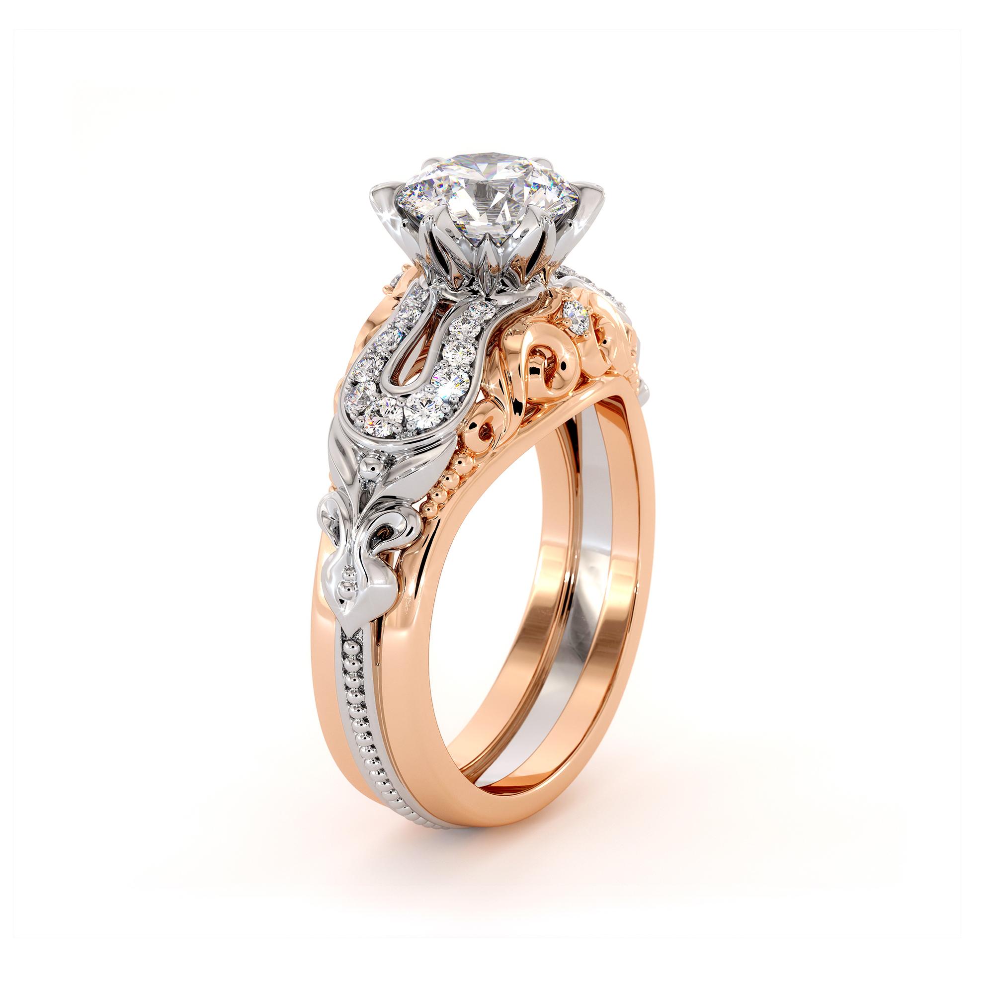 Unique Filigree Diamonds Engagement Ring White & Rose Gold Moissanite Deluxe Ring