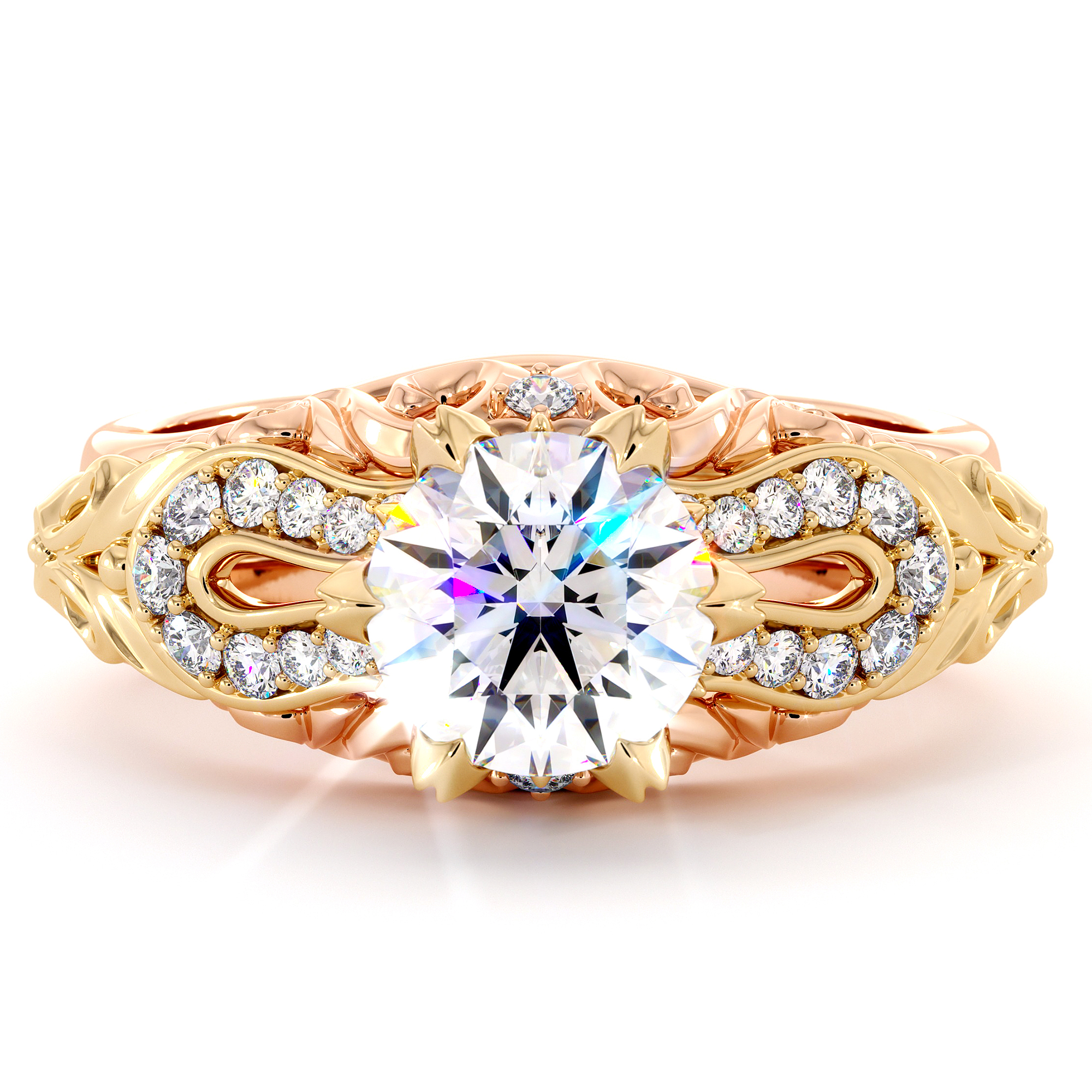 Unique Filigree Two Tone Engagement Ring Rose & Yellow Gold Moissanite FO Ring