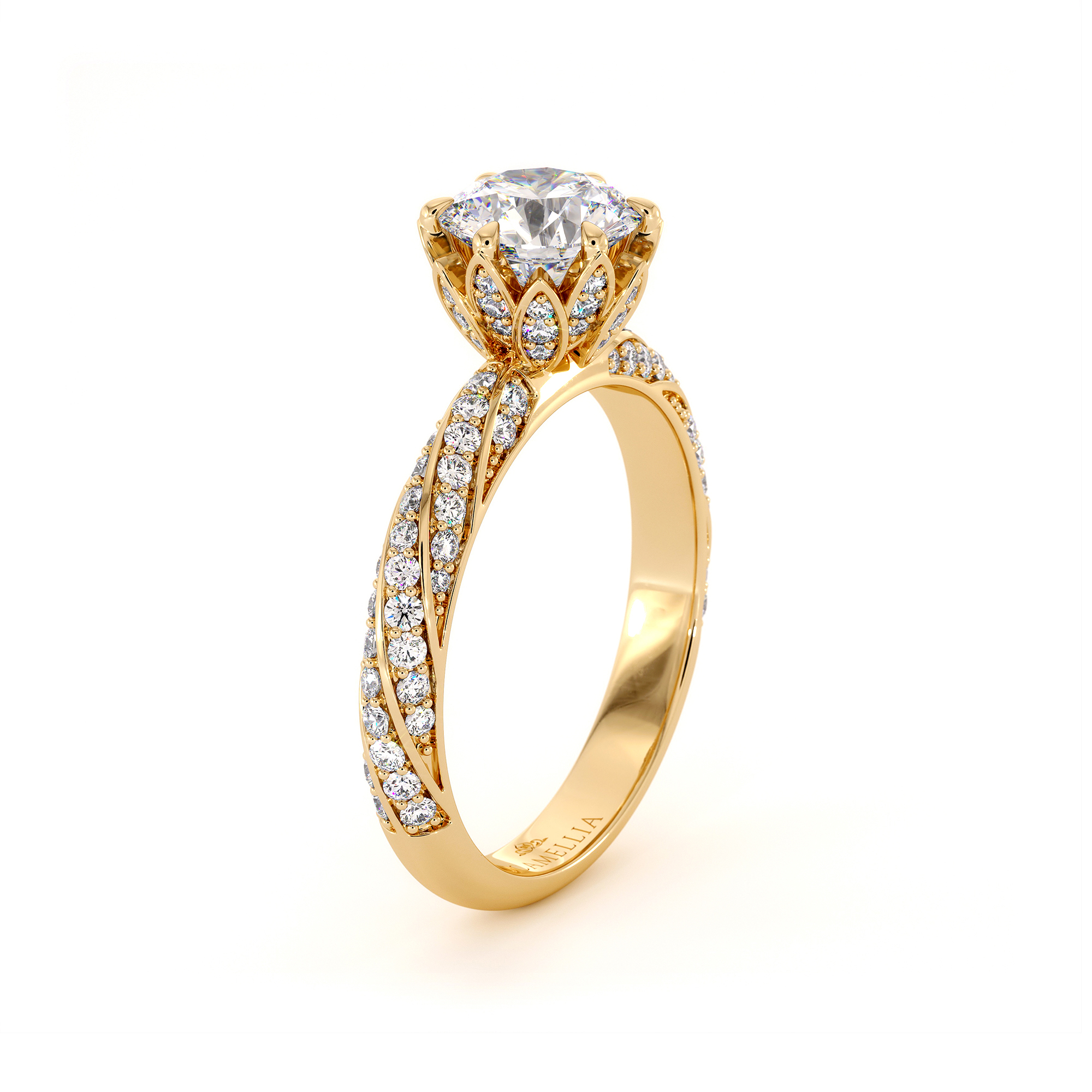 1 Ct Moissanite & Side Natural Diamonds Crown Engagement Ring 14K Gold For Her Unique Classic Ring