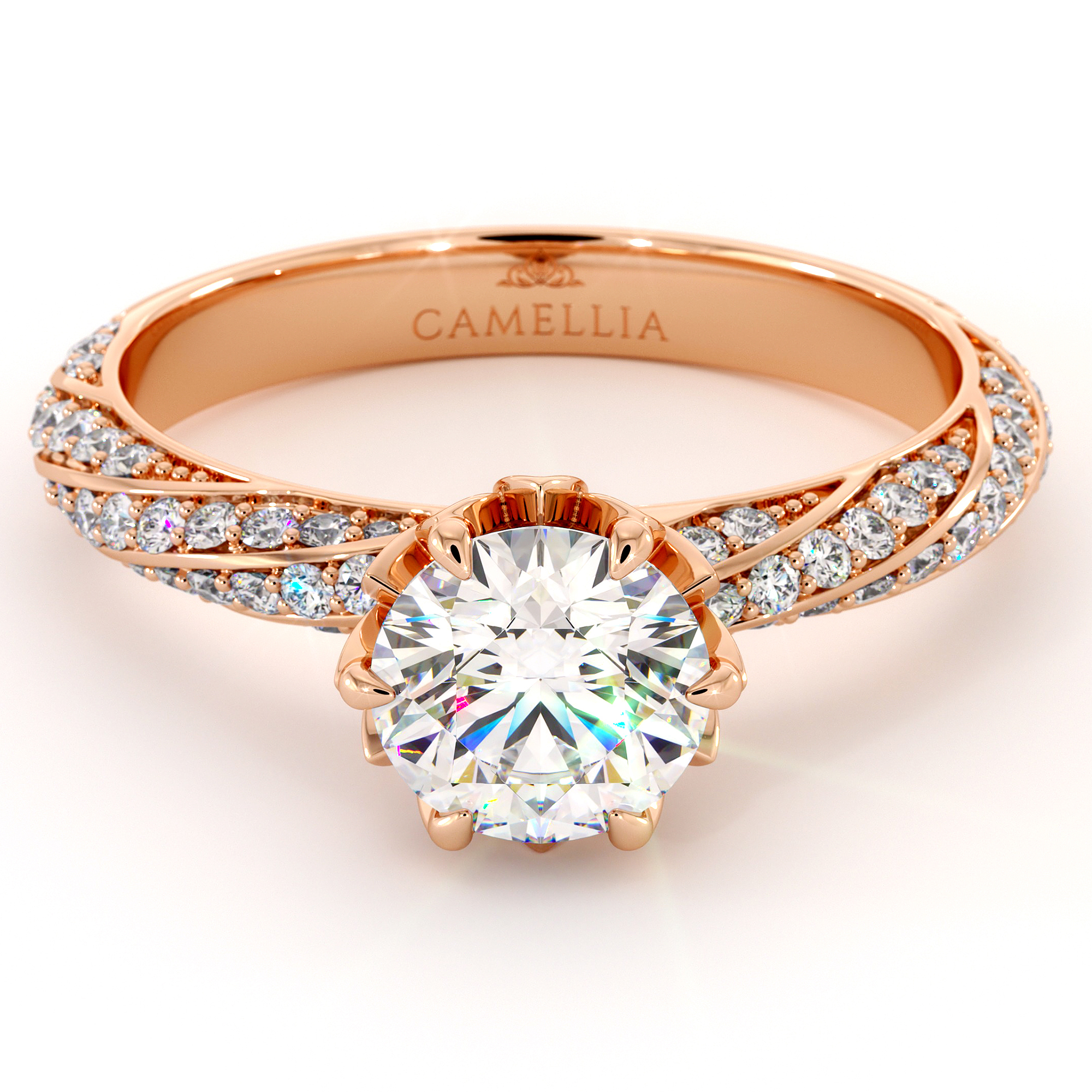 Classic Twisted Natural Diamonds Engagement Ring Moissanite Center Stone Floral Crown Ring