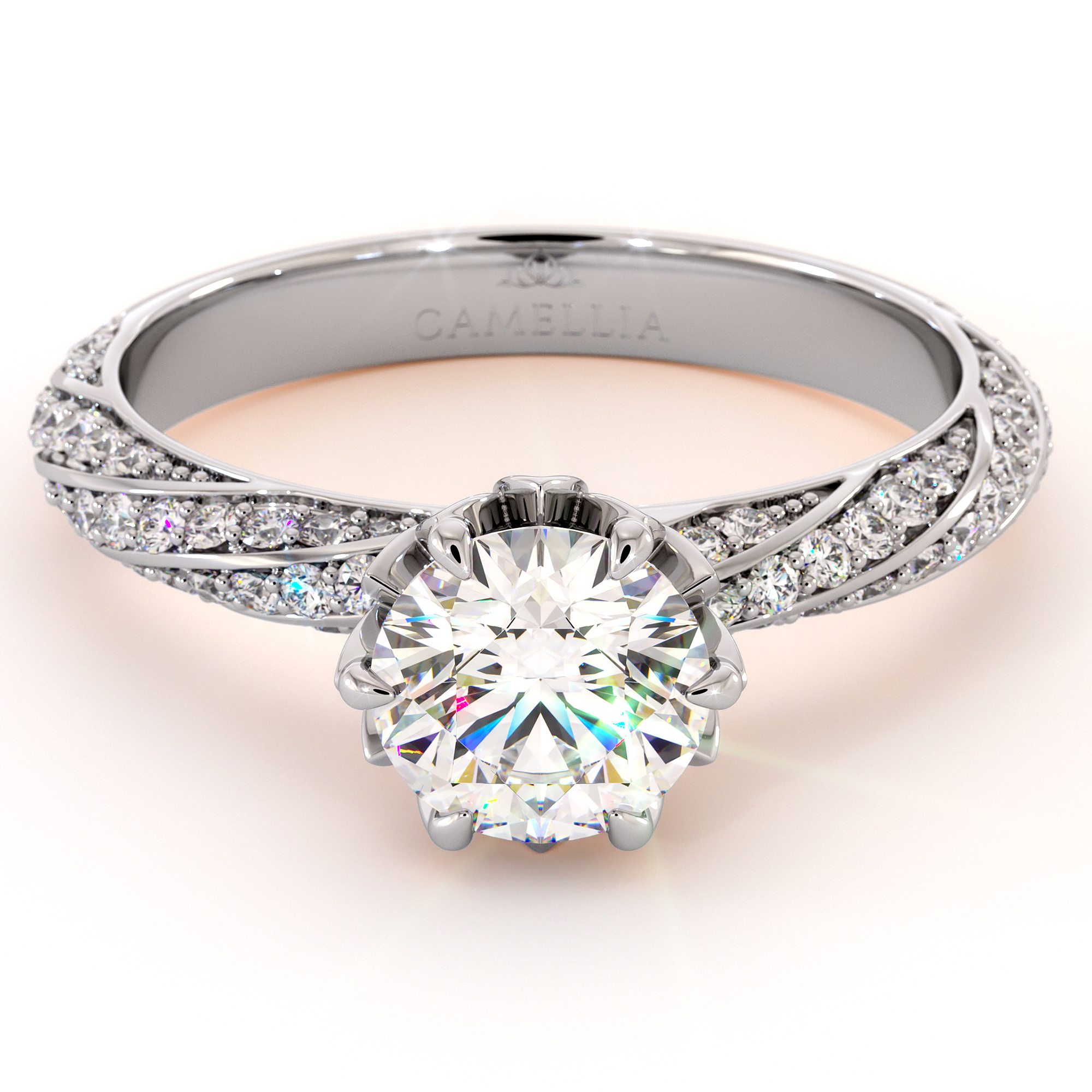 Diamonds Floral Crown Classic Engagement Ring Moissanite 1 Carat Proposal Ring